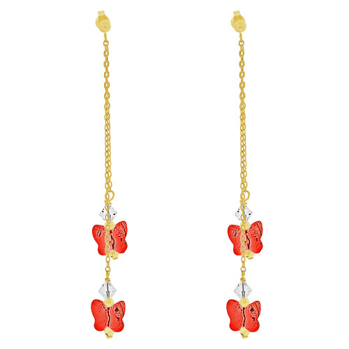 14k Yellow Gold, Butterfly Red & White Created CZ Crystals Drop Earring (E033-008)