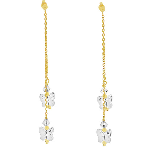 14k Yellow Gold, Butterfly Shape White Created CZ Crystals Drop Earring (E033-010)