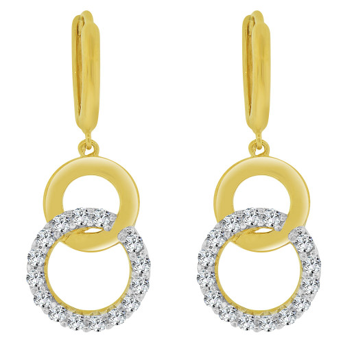 14k Yellow Gold, Double Ring Dangling Earring Created CZ Crystals (E033-011)
