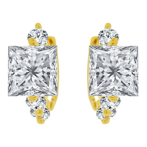 14k Yellow Gold, Mini Hoop Earring Princess Cut Created CZ Crystals (E033-012)