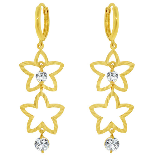 14k Yellow Gold, Stars Dangling Earring Created CZ Crystals (E033-017)