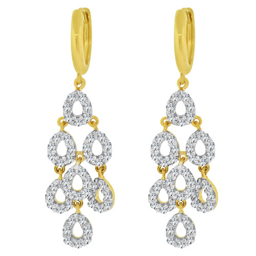 14k Yellow Gold, Chandelier Dangling Earring Created CZ Crystals (E033-022)