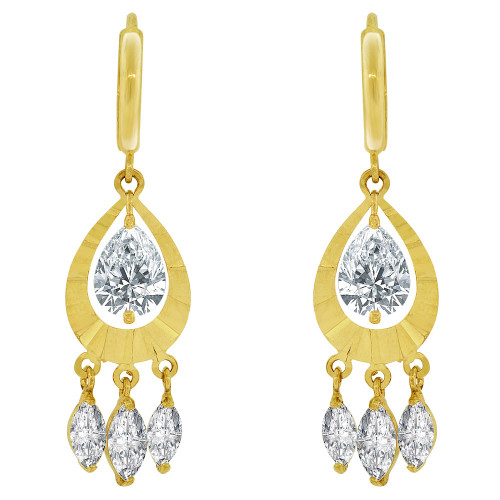 14k Yellow Gold, Dangling Pear Shape Earring Created CZ Crystals (E033-023)
