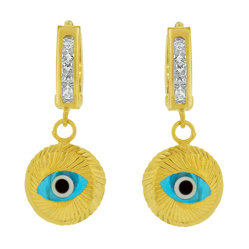 14k Yellow Gold, Dangling Evil Eye Earring Blue Enamel Resin Created CZ Crystals (E033-028)