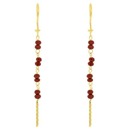 14k Yellow Gold, Dangling Earring Red Created CZ Crystals (E033-029)