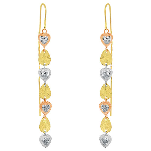 14k Tricolor Gold, Hearts Dangling Earring Created CZ Crystals (E033-032)