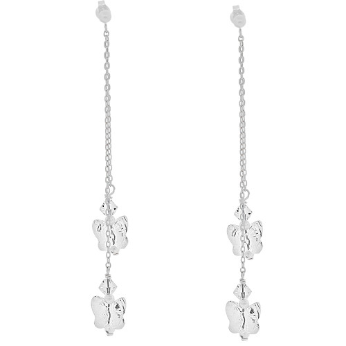 14k Gold White Rhodium, Butterfly Shape White Created CZ Crystals Drop Earring (E033-060)