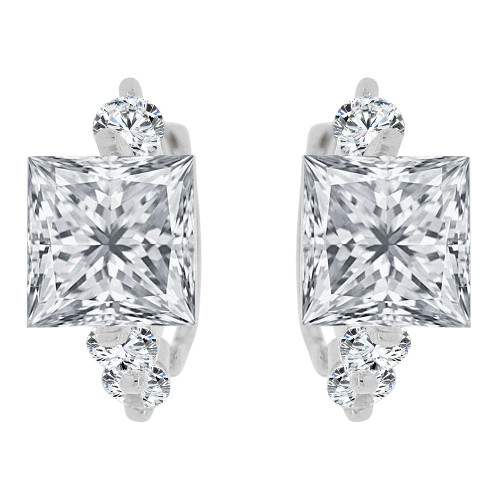 14k Gold White Rhodium, Mini Hoop Earring Princess Cut Created CZ Crystals (E033-062)