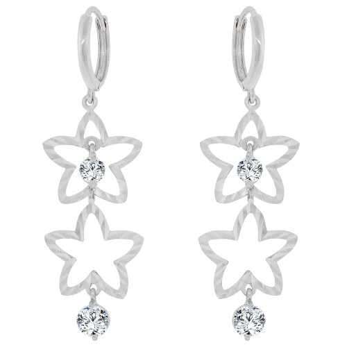 14k Gold White Rhodium, Stars Dangling Earring Created CZ Crystals (E033-067)