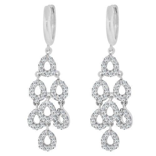 14k Gold White Rhodium, Chandelier Dangling Earring Created CZ Crystals (E033-072)