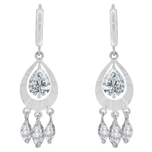 14k Gold White Rhodium, Dangling Pear Shape Earring Created CZ Crystals (E033-073)
