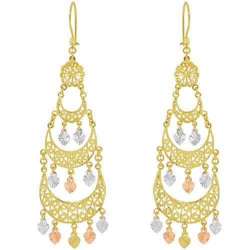 14k Tricolor Gold, Fancy Filigree Chandelier Drop Earring (E034-001)