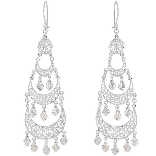 14k Gold White Rhodium, Fancy Filigree Chandelier Drop Earring (E034-004)