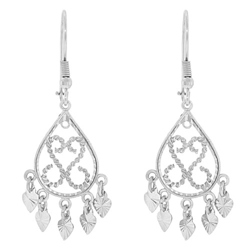14k Gold White Rhodium, Fancy Filigree Chandelier Drop Earring (E034-007)