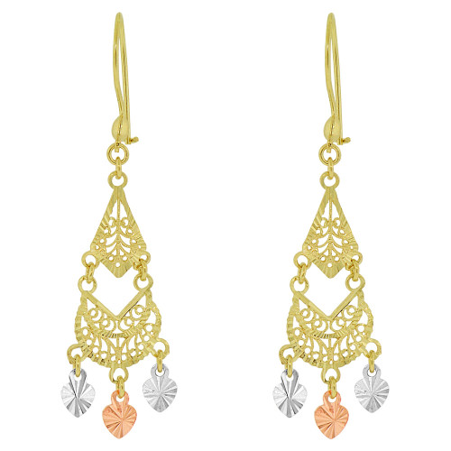 14k Tricolor Gold, Fancy Small Filigree Chandelier Drop Earring (E034-008)
