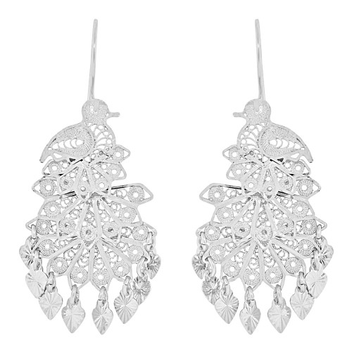 14k Gold White Rhodium, Fancy Filigree Peacock Chandelier Drop Earring (E034-014)