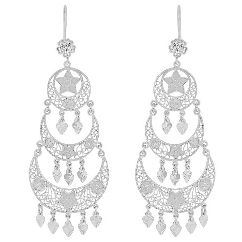 14k Gold White Rhodium, Large Fancy Filigree Chandelier Drop Earring Created CZ Crystals (E034-021)