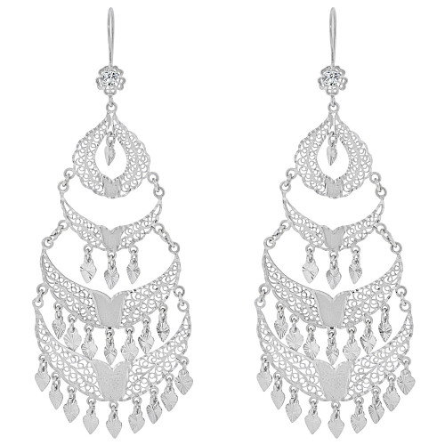 14k Gold White Rhodium, Large Fancy Filigree Chandelier Drop Earring Created CZ Crystals (E034-024)