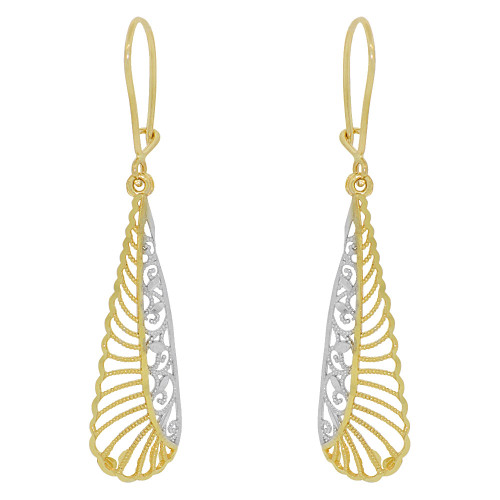 14k Yellow Gold White Rhodium, Fancy Filigree Dangle Earring Cuts (E034-025)