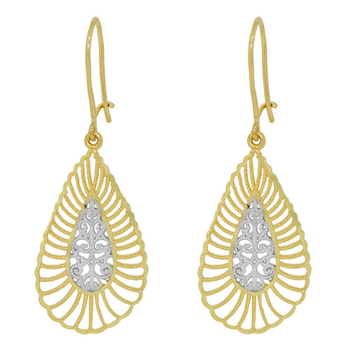 14k Yellow Gold White Rhodium, Fancy Filigree Dangle Earring Cuts (E034-026)