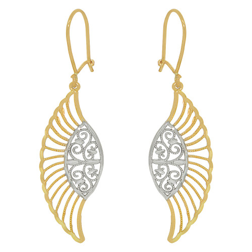 14k Yellow Gold White Rhodium, Fancy Filigree Wings Dangle Earring Cuts (E034-028)