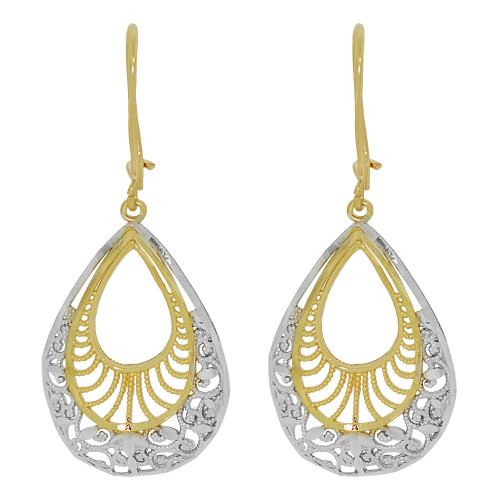 14k Yellow Gold White Rhodium, Fancy Filigree Dangle Earring Cuts (E034-030)