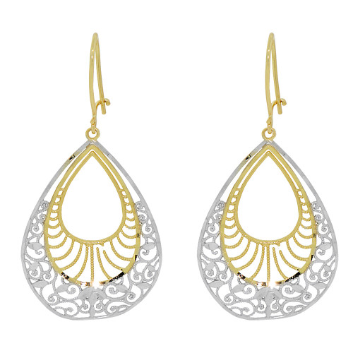 14k Yellow Gold White Rhodium, Fancy Filigree Dangle Earring Cuts (E034-032)