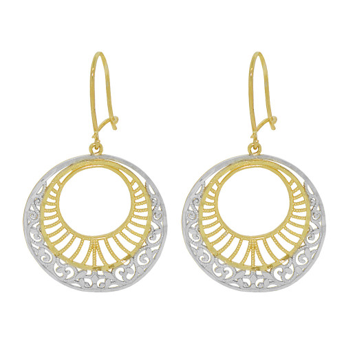14k Yellow Gold White Rhodium, Fancy Filigree Dangle Earring Cuts (E034-033)