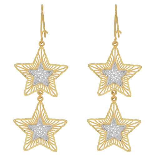 14k Yellow Gold White Rhodium, Fancy Filigree Double Star Dangle Earring Cuts (E034-034)