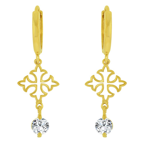 14k Yellow Gold, Cross Dangle Earring Created CZ Crystals (E035-004)
