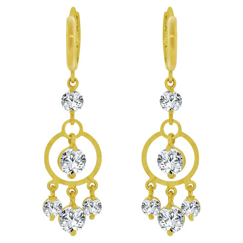 14k Yellow Gold, Dangling Round Shape Earring Created CZ Crystals (E035-014)