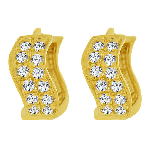 14k Yellow Gold, Mini Hoop Stud Earring Wave Created CZ Crystals (E035-016)