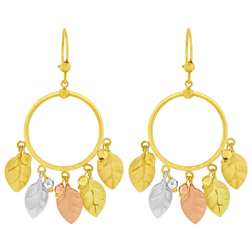 14k Tricolor Gold, Beads & Leaves Dangle Earring (E035-017)