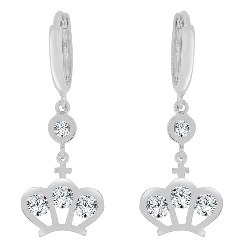 14k Gold White Rhodium, Tiara Crown Dangle Earring Created CZ Crystals (E035-052)