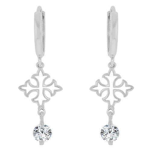 14k Gold White Rhodium, Cross Dangle Earring Created CZ Crystals (E035-054)