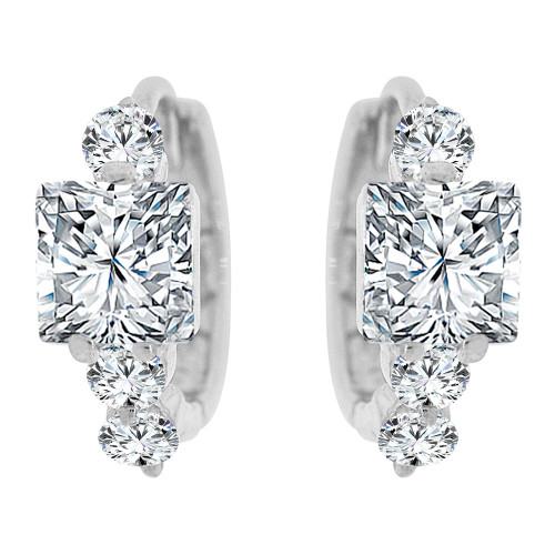 14k Gold White Rhodium, Mini Hoop Huggies Earring Princess Cut Created CZ Crystals (E035-060)
