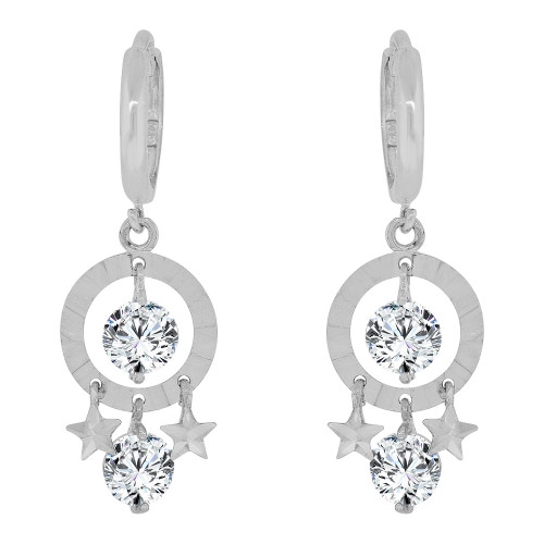 14k Gold White Rhodium, Dangling Round Stars Earring Created CZ Crystals (E035-062)