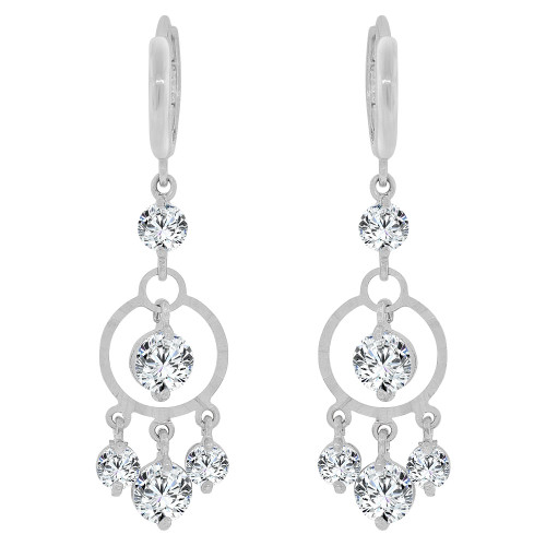 14k Gold White Rhodium, Dangling Round Shape Earring Created CZ Crystals (E035-064)