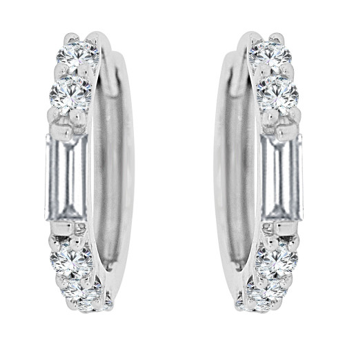14k Gold White Rhodium, Mini Hoop Huggies Earring Created CZ Crystals (E035-065)