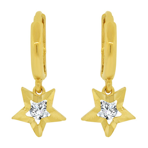 14k Yellow Gold, Star Diacut Dangle Earring Created CZ Crystals (E037-001)