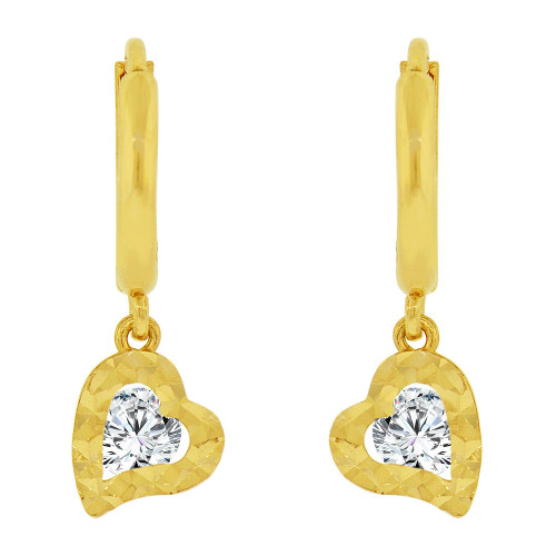 14k Yellow Gold, Diacut Heart Drop Dangling Earring Created CZ Crystals (E037-004)