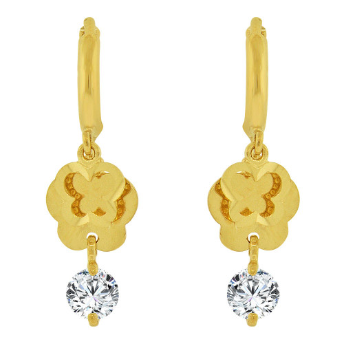 14k Yellow Gold, Silhouette Butterflies Dangling Earring Created CZ Crystals (E037-007)