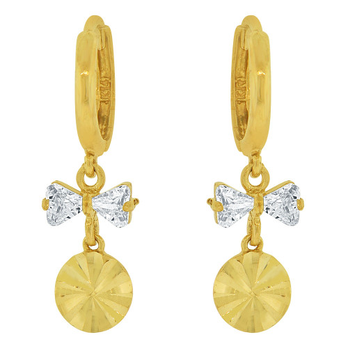 14k Yellow Gold, Geometric Disc Dangling Earring Created CZ Crystals (E037-009)