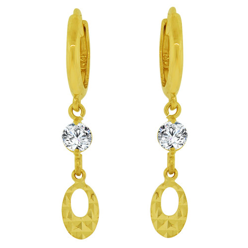 14k Yellow Gold, Diacut Oval Dangling Earring Created CZ Crystals (E037-010)