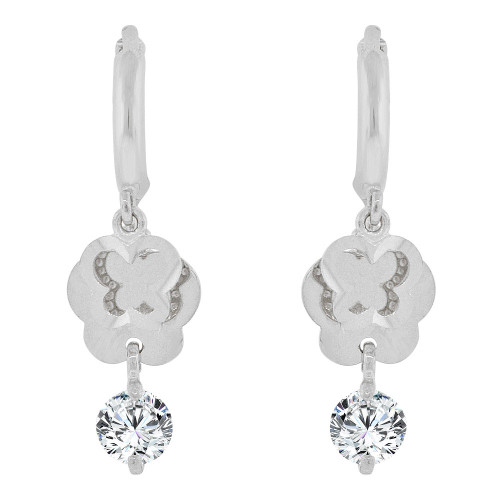 14k Gold White Rhodium, Silhouette Butterflies Dangling Earring Created CZ Crystals (E037-057)