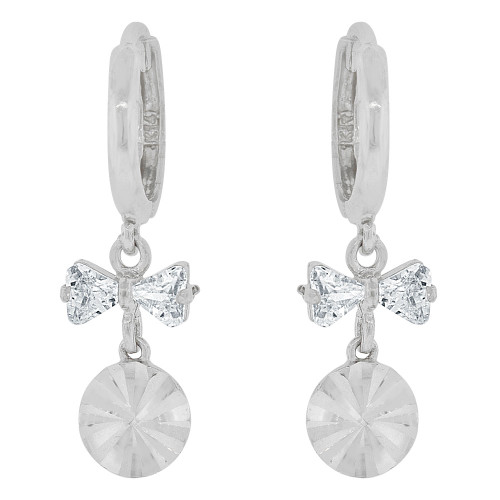 14k Gold White Rhodium, Geometric Disc Dangling Earring Created CZ Crystals (E037-059)