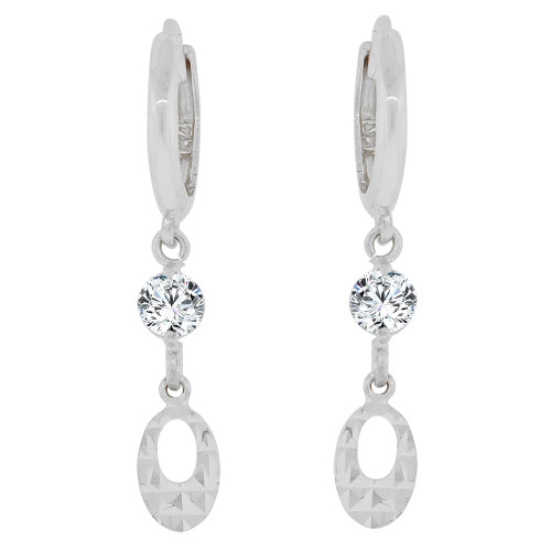 14k Gold White Rhodium, Diacut Oval Dangling Earring Created CZ Crystals (E037-060)