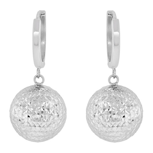 14k Gold White Rhodium, Super Sparkly Crystal Cut 12mm Hollow Ball Dangling Earring (E037-063)