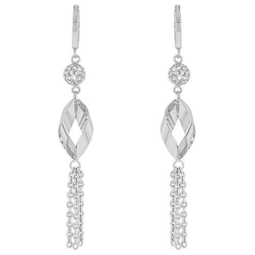 14k Gold White Rhodium, Fancy Spiral Beads Drop Dangling Earring (E037-066)