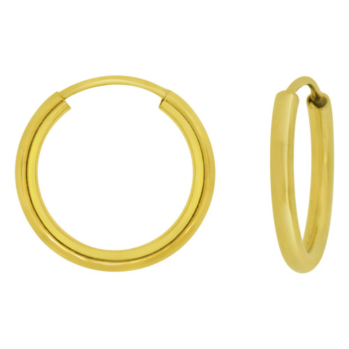 14k Yellow Gold, Plain Round Hollow 2mm Tube Circular Hoop Earring 14mm Inner Endless (E051-002)